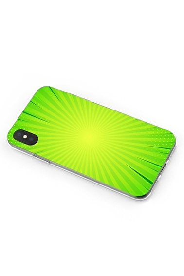 Lopard iPhone Xs Max Kılıf Silikon Arka Kapak Koruyucu Fıstık Yeşili Sonsuzluk Desenli Full HD Baskılı Renkli